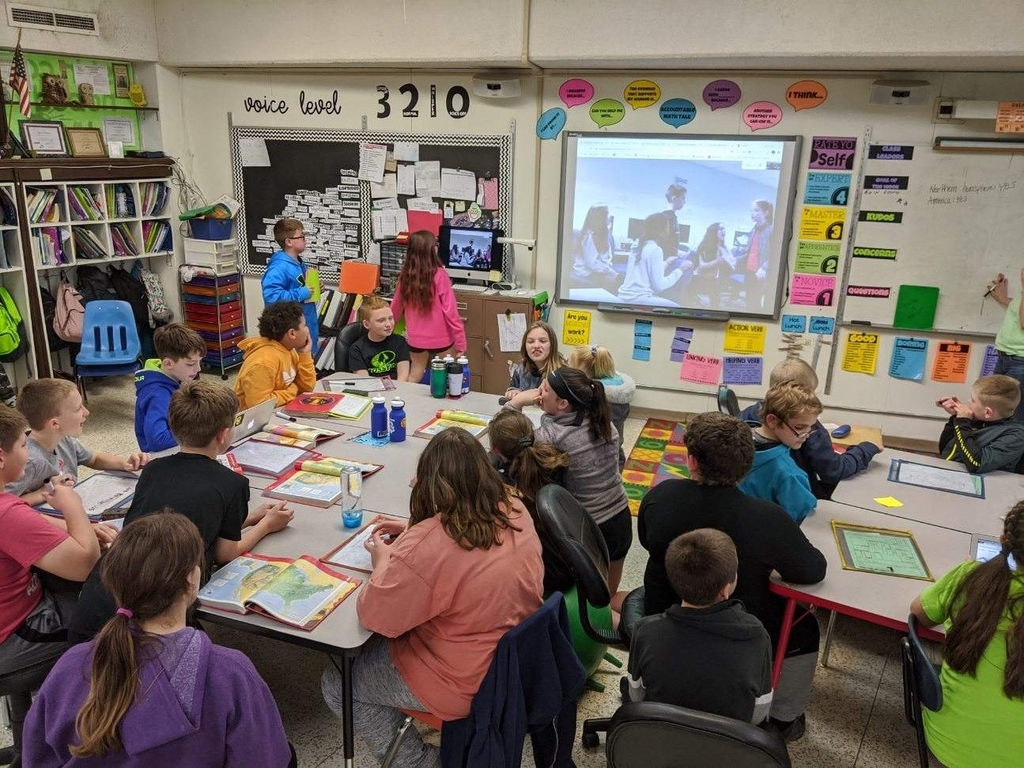 5th grade classes during their mystery Skype.