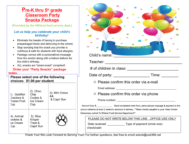 Birthday Party Snack Order Form PK-5